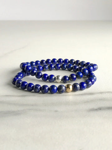 Lapis Lazuli Stretch Bracelet | Cobalt Blue Gemstone Jewelry | Silver or Gold Bead Bracelet