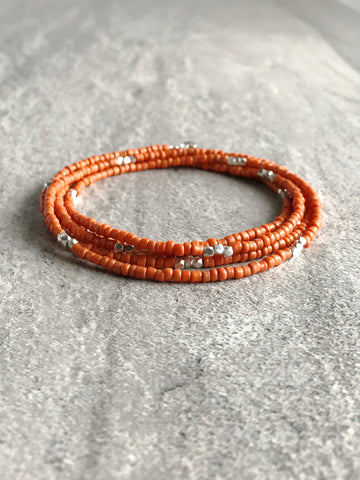 Long Orange Necklace or Multi Wrap Bracelet / Sterling Silver Mini Seed Bead Jewelry