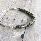 Natural Pyrite Bracelet / Fool's Gold Jewelry / Tiny Hill Tribe Silver Bead Bracelet