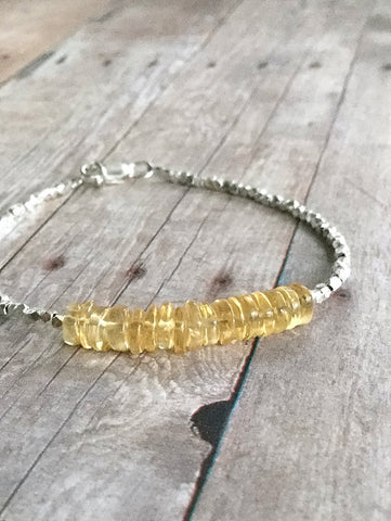 Citrine Bracelet / November Birthstone Jewelry / Yellow Gemstone Bead Bracelet