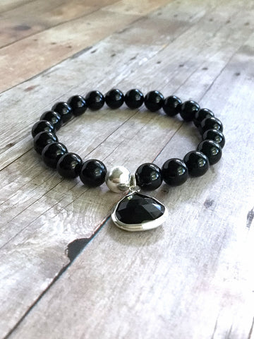 Black Onyx Stacking Bracelet / Faceted Gemstone Charm Bracelet / Sterling Silver Jewelry