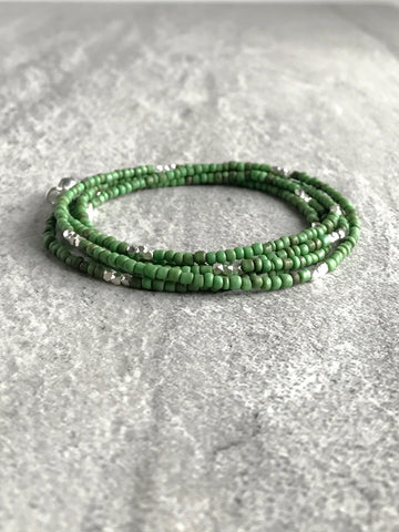 Long Seed Bead Necklace or Multi Wrap Bracelet / Green Hand Beaded Jewelry
