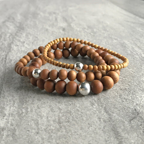 Fragrant Sandalwood Bracelet / Natural Wood Bead Jewelry for Women, Men