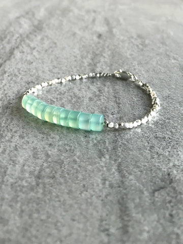 Aqua Chalcedony Bracelet | Blue Green Gemstone Crystal Jewelry | Hill Tribe Silver Beads