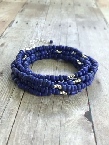Cobalt blue wrap around bracelet