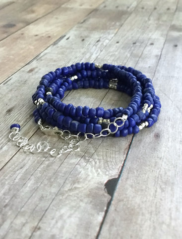 Long Beaded Necklace or Multi Wrap Bracelet / Cobalt Blue Indonesian Seed Bead Jewelry