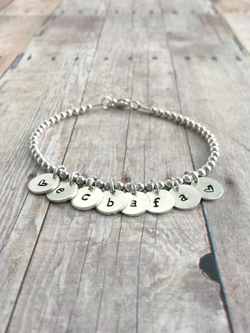 Initial Bracelet for Mom, Grandma, Sister, Friend / Sterling Silver Custom Personalized Charm Jewelry