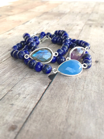 Colorful gemstone bracelet stack blue and purple stones