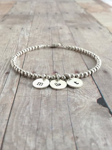 Custom Sterling Silver Bead Bracelet, Personalized Heart Charm Jewelry