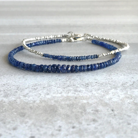 Blue Sapphire Bracelet / Faceted Genuine Sapphire Jewelry Set for Women, Men