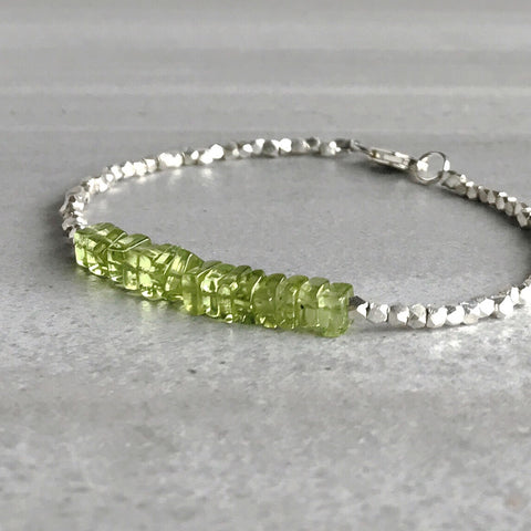 genuine peridot bracelet with tiny silver beads