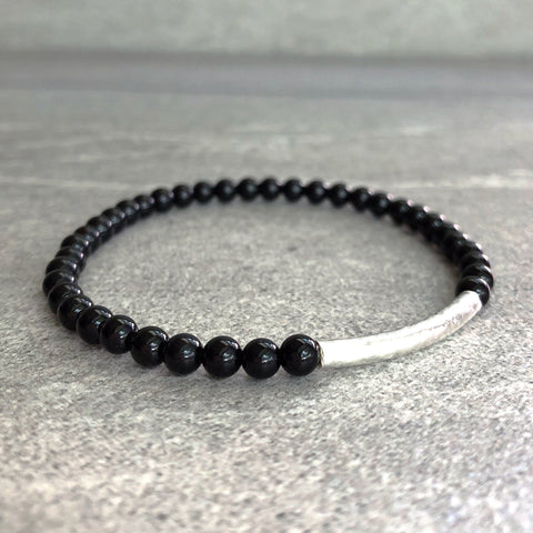 Onyx Crystal Bracelet | Beaded Stretch Bracelet with Gold or Silver Bar Bead | Onyx Jewelry