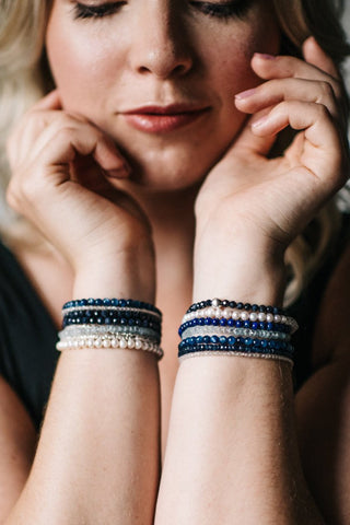 modeled bracelet photography pearl and sapphire bracelets