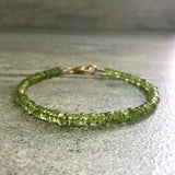 real peridot bracelet with gold clasp
