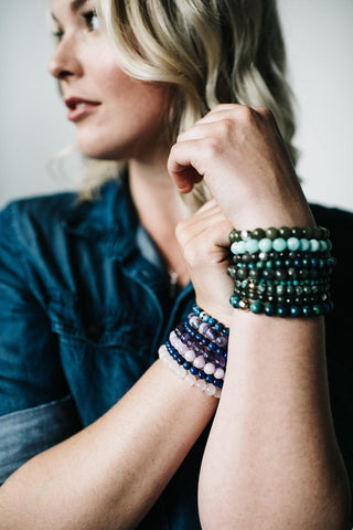 Layered gemstone bracelets