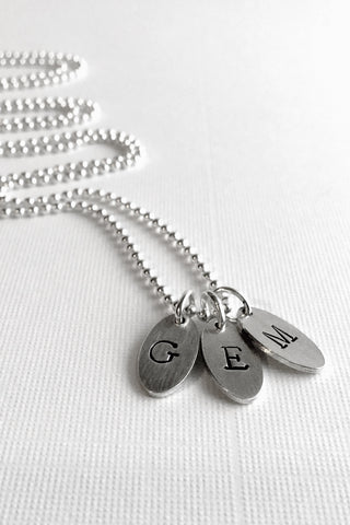Oval Initial Necklace, Hand Stamped Multiple Initial Charms, Sterling Silver Ball Chain