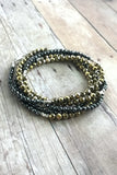 Multi wrap bracelet or long necklace, faceted Hematite jewelry