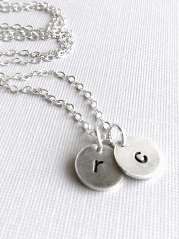 Personalized Initial Necklace, Round Sterling Silver Charm Jewelry, Everyday Layering Necklace
