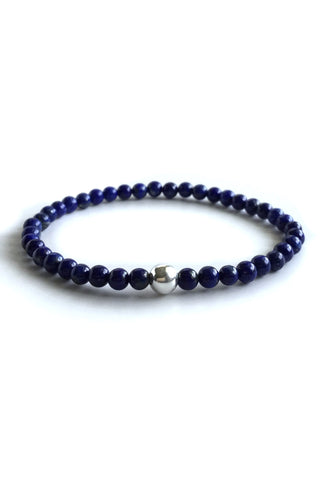 Lapis Lazuli Bracelet, Sterling Silver Beaded Jewelry