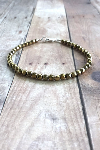 Gold Hematite Jewelry, Women's / Men's Semi Precious Stone Bracelet