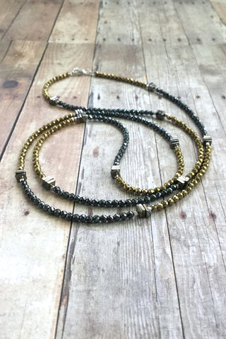 Mixed Metal Necklace, Multi Wrap Bracelet or Long Necklace, Tiny Hematite Pyrite Crystal Beaded Jewelry