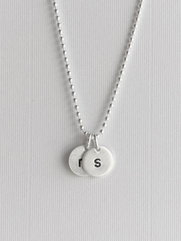 Round Initial Charm Necklace, Personalized Hand Stamped Letter Charm, Sterling Silver Ball Chain