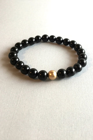 Black Onyx Bracelet, 14 K Gold Filled Jewelry, Stretch Stone Bracelet