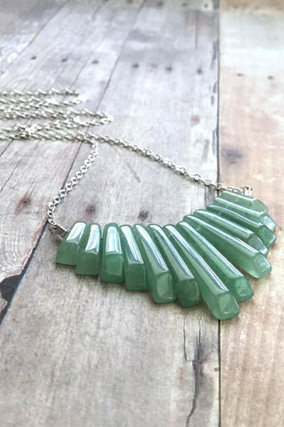 Green Aventurine Necklace, Natural Stone Fan Jewelry