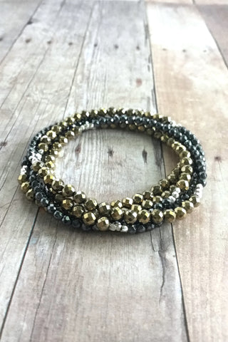 Hill Tribe Silver and Gold Hematite Bracelet, multi strand faceted stone jewelry