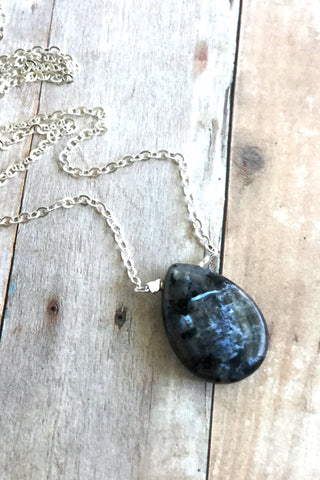 Blue Labradorite Necklace, Navy Natural Stone Jewelry, Long Silver Chain