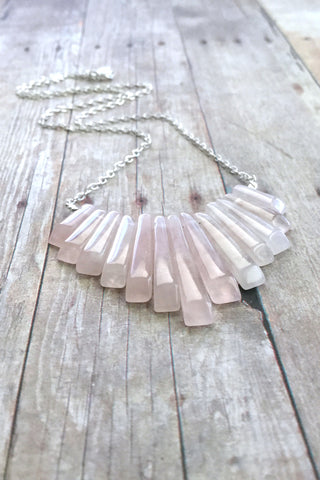 Pink Statement Necklace, Rose Quartz Jewelry, Natural Stone Fan Bib Necklace