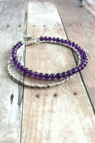 Genuine Amethyst bracelet, Hill Tribe Sterling Silver Jewelry