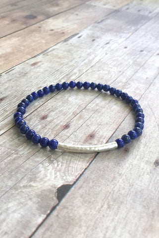 Lapis Lazuli Bracelet / Sterling Silver Stretch Bracelet / Cobalt Blue Natural Stone Jewelry