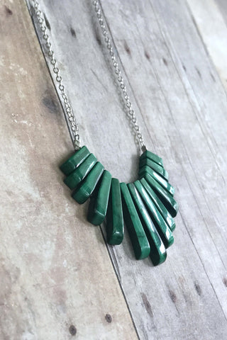 Malachite Necklace,  Emerald Green Fan Pendant, Semi Precious Stone Jewelry
