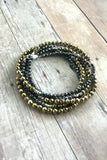 Gold and Silver Mixed Metal Jewelry, Small Faceted Hematite Stone Bracelet