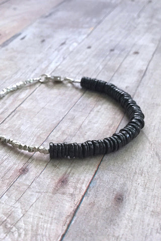 Black Spinel bracelet, tiny Hill Tribe Silver bead jewelry