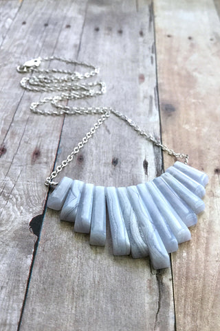 Blue Lace Agate Necklace, Natural Stone Fan Necklace