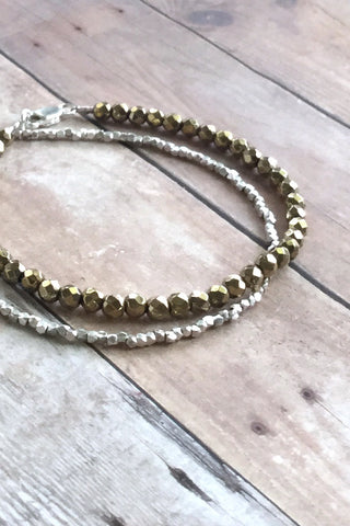 Gold Bead Bracelet, Faceted Hematite Jewelry, Sterling Silver Beaded Bracelet