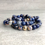 Blue Orange sodalite bracelets with gold & silver beads