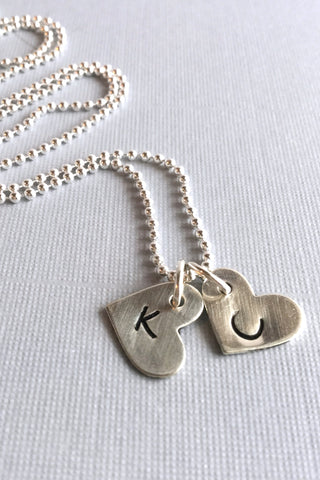 Heart charm initial necklace