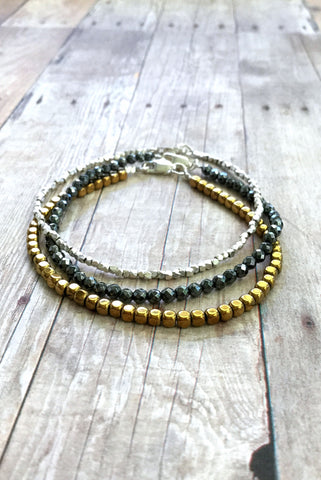 Mixed Metal Bracelet Set, Silver and Gold Hematite Bead Jewelry