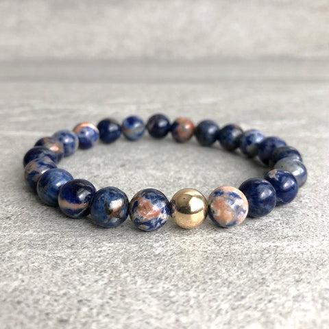 Blue orange beaded bracelet