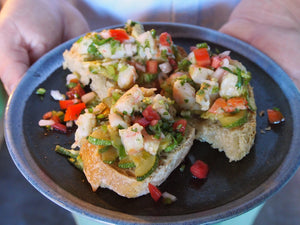 In Mexico: Grilled Shrimp Salad on Toast