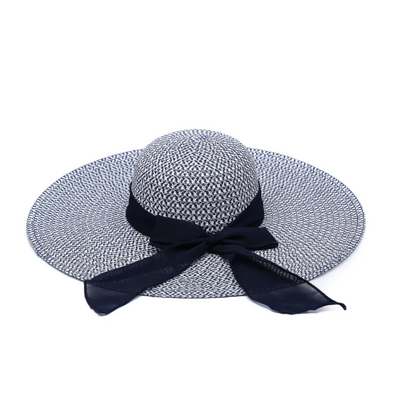 Navy & White Natural Seagrass Hat