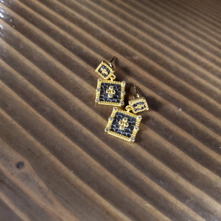 SQUARE FILIGREE DROP EARRING