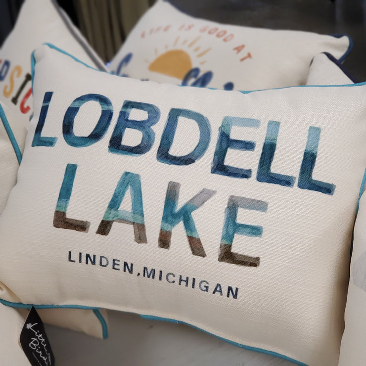 Watercolor Lake Name Pillow