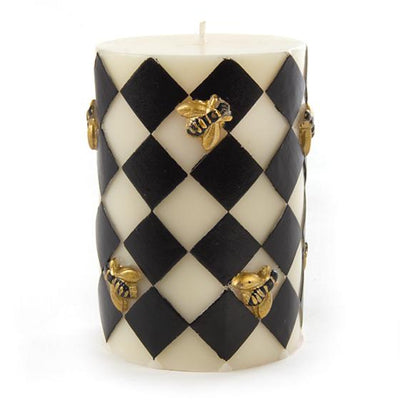 "Harlequin Bee Pillar Candle - 4"" - Black"