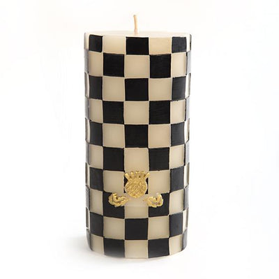 "Check Pillar Candle - 6"" - Black & White"