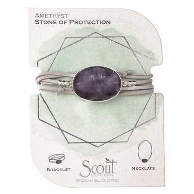 Suede/Stone Wrap - Amethyst/Silver/Stone of Protection