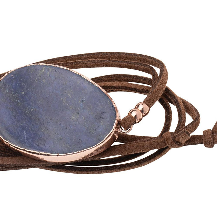 Suede/Stone Wrap - Lapis/Rose Gold/Stone of Truth